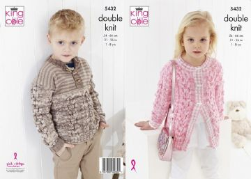 Cardigan and Sweater DK, King Cole 5432- 21-26 in